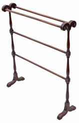 Antique Victorian C1880 mahogany towel rail