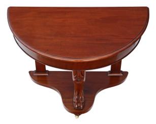 Antique Victorian C1890 mahogany demi-lune console table