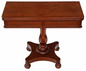 Antique Victorian quality mahogany folding card tea console table C1850