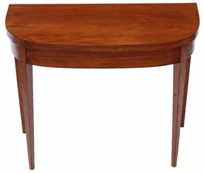 Antique C1810 Georgian mahogany folding card tea console table