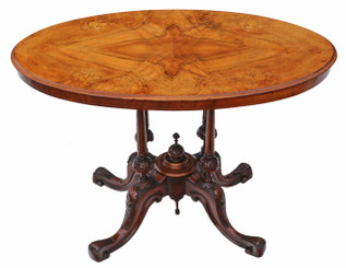 Antique Victorian inlaid figured walnut oval side supper tea table