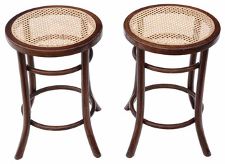 Antique pair bentwood cane stools seats chairs