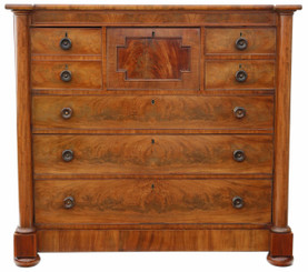Antique large Regency flame mahogany chest of drawers C1820-30