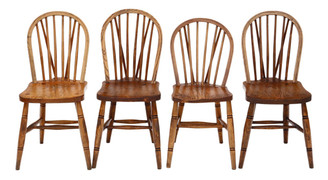 Antique set of 4 Victorian ash, elm and beech kitchen dining chairs C1890