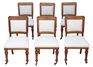 Antique quality set of 6 Victorian Aesthetic oak dining chairs C1890