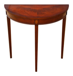 Antique reproduction Bradley inlaid mahogany console table side occasional