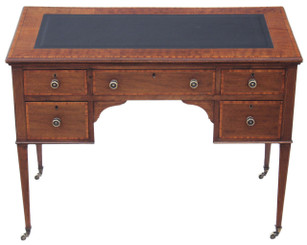 Antique Quality Edwardian inlaid mahogany & leather desk writing table