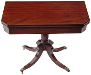 Antique quality 19C Georgian Regency mahogany pedestal folding tea card table