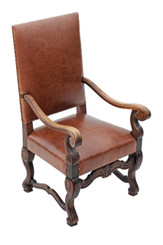 Antique quality carved oak leather armchair throne side hall chair
