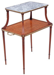 Antique kingwood walnut marble etagere side occasional table stand whatnot