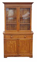 Antique Victorian 19C scumble glazed bookcase dresser cupboard pine oak