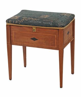 Antique Edwardian inlaid walnut piano music dressing table stool