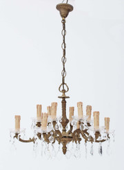 Antique large 12 lamp ormolu brass bronze crystal chandelier FREE DELIVERY