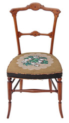 Antique Arts and Crafts Victorian walnut chair bedroom side hall beadwork