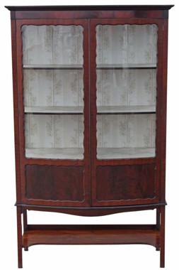 Antique large Edwardian mahogany bow front display cabinet