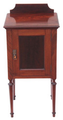Antique quality mahogany red walnut bedside cupboard table cabinet
