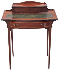 Antique Victorian Edwardian inlaid mahogany walnut writing table desk