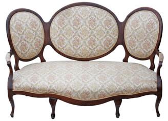 Antique large Victorian Edwardian walnut sofa chaise longue settee