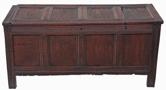 Antique large Georgian 18C oak mule chest coffer ottoman log basket