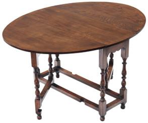 Antique Georgian revival oak dining table gate leg drop leaf