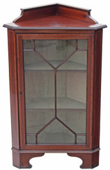 Antique Edwardian inlaid mahogany walnut corner cupboard display cabinet
