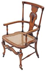Antique Victorian Edwardian inlaid oak beech cane armchair chair