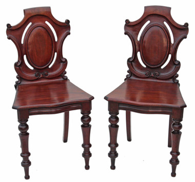 Antique pair of 19C Victorian carved mahogany hall side bedroom chairs