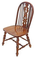 Antique quality Victorian revival elm oak Windsor dining chair hall side