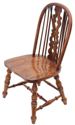 Antique quality Victorian revival elm oak Windsor chair hall side dining