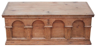 Antique Georgian 18C pine mule chest coffer ottoman log basket