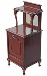 Antique quality mahogany perdonium bedside cupboard table cabinet coal box