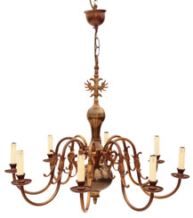 Antique Flemish 8 lamp brass bronze chandelier light fitting FREE DELIVERY