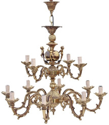 Antique large heavy 12 lamp ormolu brass cherubs chandelier FREE DELIVERY