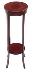 Antique Edwardian inlaid mahogany plant stand jardiniere table pedestal