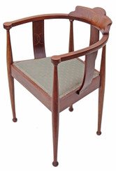 Antique Arts and Crafts inlaid mahogany corner chair tub side hall bedroom