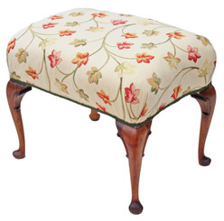 Antique Victorian / Early 20C walnut dressing table stool window seat chair