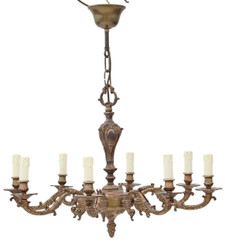 Antique 8 lamp ormolu brass bronze chandelier light FREE DELIVERY