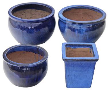 4 antique very large blue enameled terracotta plant pots