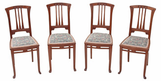 Antique quality set of 4 Arts and Crafts mahogany dining chairs