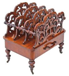 Antique Victorian 19C walnut acanthus Canterbury magazine rack
