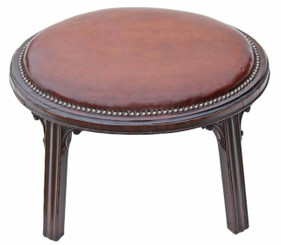 Antique 19C and later mahogany and leather stool chair foot