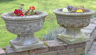Antique pair of large weathered patinated concrete plant pots urns