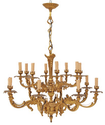 Antique very large 16 lamp ormolu brass bronze chandelier FREE DELIVERY