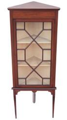 Antique Edwardian mahogany inlaid corner display cabinet