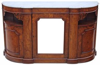 Antique large Victorian 19C inlaid burr walnut credenza chiffonier sideboard