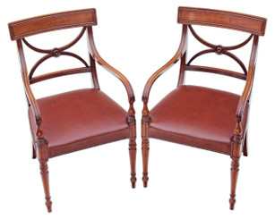 Antique pair of Georgian Revival mahogany leather elbow armchairs chairs desk