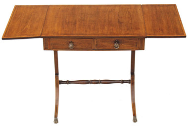 Antique Georgian Regency inlaid mahogany sofa table pembroke side