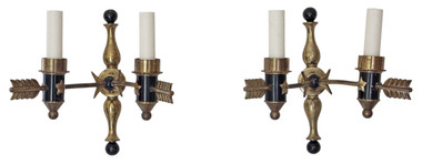 Antique pair of 2 lamp ormolu bronze brass arrow wall lights FREE DELIVERY