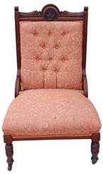Antique Victorian Edwardian ladies carved walnut chair armchair