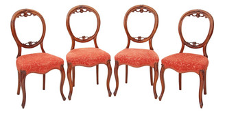 Antique set of 4 Victorian carved walnut balloon back dining chairs
